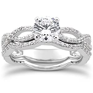 1.00CT Pave Diamond Engagement Wedding Ring Set 14K White Gold