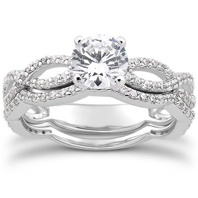 1.00CT Pave Diamond Engagement Wedding Ring Set
