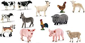 Schleich Farm Animal Set - 14 Styles: Includes Holstein Cow, Sheep, Lamb, Pig and More!
