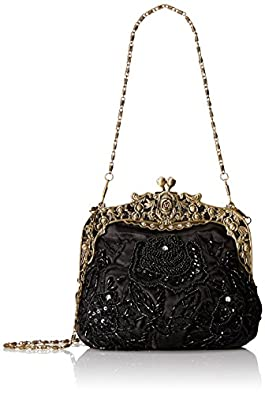 MG Collection Elaine Beaded Rose Purse, Black, One Size