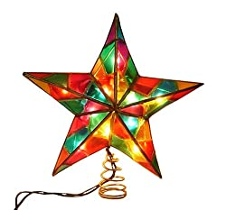 9&quot; Lighted Multi-Color Mosaic Star Christmas Tree Topper - Clear Lights