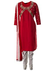 AzraJamil Fine Cotton Red Sequined And Kundan Hand Worked Traditional Churidar Suit For Women