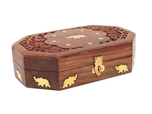 Mothers Day Gift Beautiful Handmade Wooden Jewelry Storage Keepsake Box with Brass Inlay Velvet Interior
