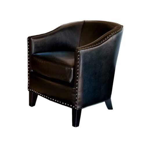 Leather studded club chair in brown for Leather studded couch