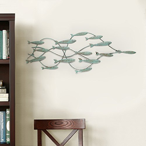 Adeco Decorative Distressed Blue Iron School of Fish Wall Hanging Accents Decor Widget