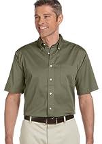 Chestnut Hill 32 Singles Short-Sleeve Twill Shirt, OLIVE, Large