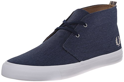 Fred Perry Men's Vernon Mid Waxed Canvas Chukka Boot, Carbon
