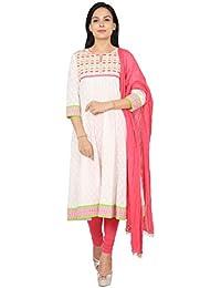 Rama Classic White Color Embroidered Khadi Print Anarkali Suit Set