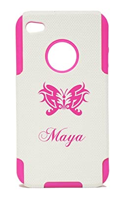 PLASTIC & SILICONE PINK CASE FOR IPHONE 4 / 4S, NAME MAYA WITH BUTTERFLY COVER- LIFETIME WARRANTY