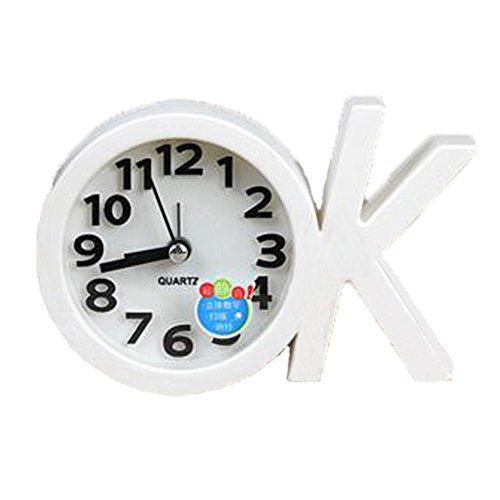 Mini Battery Operated chevet numérique Silent Alarm Clock OK-forme Blanc
