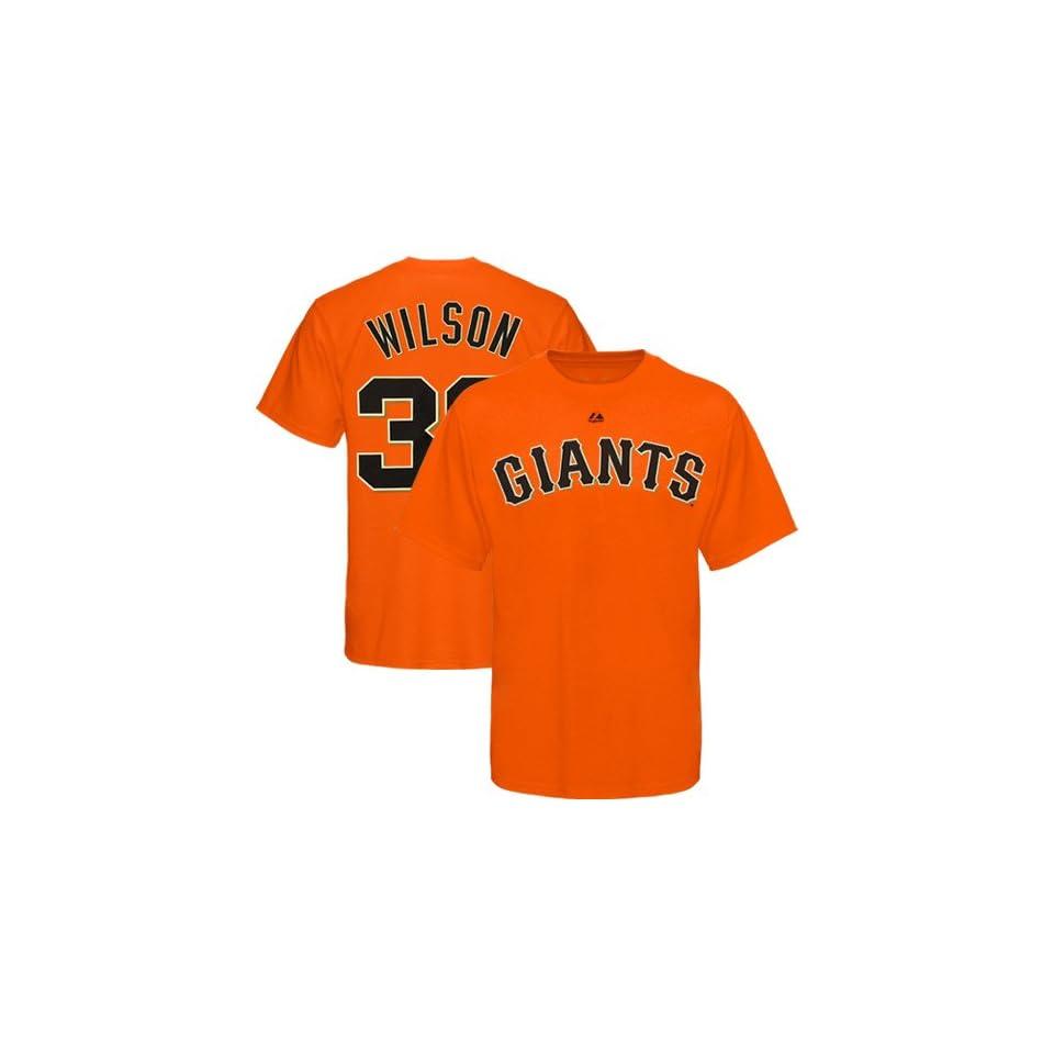 San Francisco Giants Brian Wilson #38 Name & Number T Shirt (Orange)