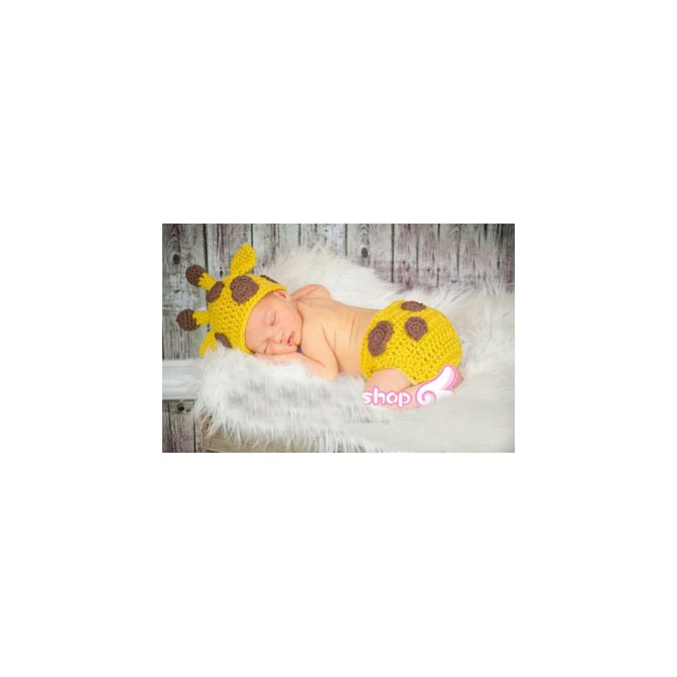 Baby Boy Girl Toddler Crochet Giraffe Hat and Diaper Cover Set Party Shower Costume Beanie Photography