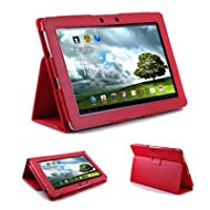 GMYLE (TM) PU Leather Slim Flip Folio Carry Case Cover Stand Folder For Asus Transformer TF300 Tablet (Red)
