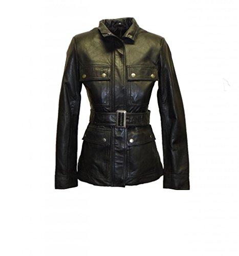 Whet Blu Women's Belted Leather Jacket-Black-M