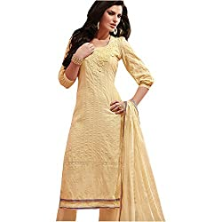 radhika cotton Embroidered Dress Material rs_2557_yellow