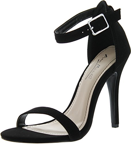 Anne Michelle Enzo-01N Ankle Strap Open Toe Stiletto High Heel Dress Sandal