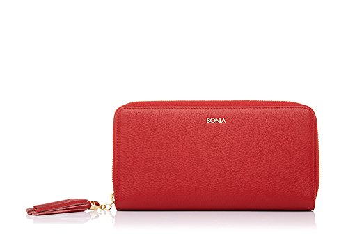 bonia-womens-red-tassel-zip-top-purse