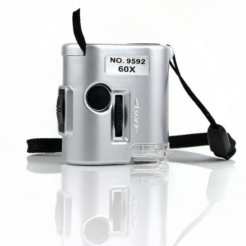 Niceeshop(Tm) Mini 60X Pocket Microscope Loupe Led Uv Light Magnifier
