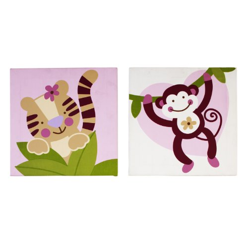 Nojo Sweet Jungle Babies 2 Piece Wall Decor Canvas (Discontinued by Manufacturer)