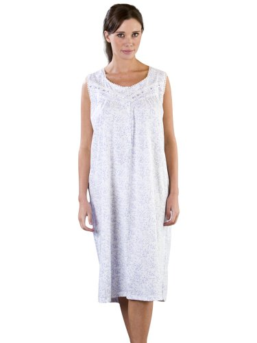 Womens/Ladies Nightwear Ditsy Floral Jersey Nightdress, Various Colours & Sizes