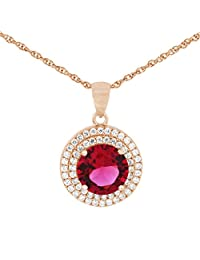 Pink Gold Plated Pure 925 Sterling Silver Simulated Diamonds And Ruby Pendant