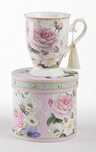 Delton Products Pink Rose Floral Porcelain Mug in Matching Keepsake Box