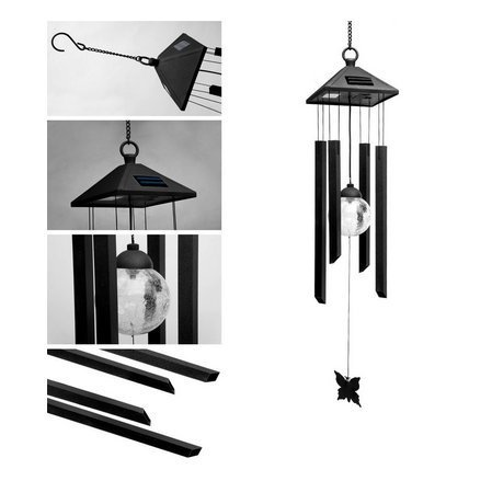 Solar Powered Wind chime,Solar Garden Lights Outdoor Colour Changing LED Metal Shopmonk