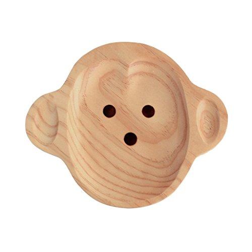 Petits Et Maman Kids' Wood Plate, Monkey