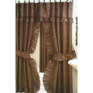 Double Swag Shower Curtain Liner Rings Brown