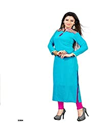 Sky Up Women's Bamberg Embroidered Blue Salwar Suit