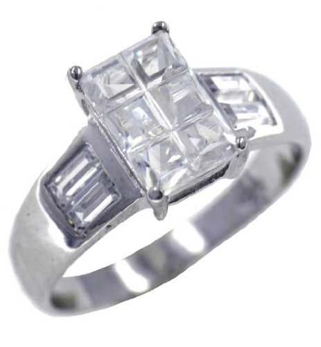 Pugster Emerald Cut Cz Rings - Sterling Silver Promise Anniversary Ring