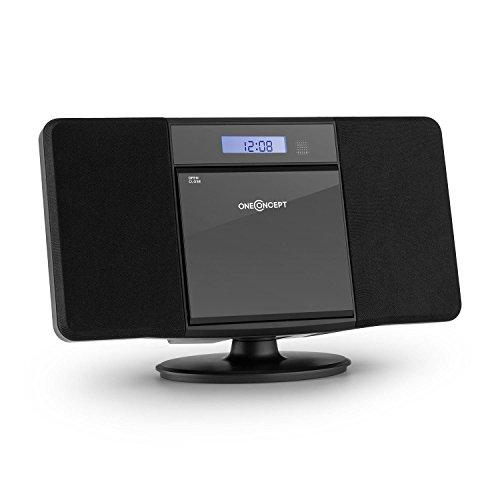 OneConcept V-13 - Chaine stéréo ultra-plate avec radio, lecteur CD-MP3 et ports USB (AUX, fonction réveil, AM/FM) - noir
