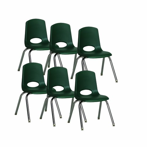 """Ecr4Kids School Stack Chair With Chrome Legs/ Nylon Swivel Glides, 14"""" Seat Height, Hunter Green, 6-Pack front-1037473"""