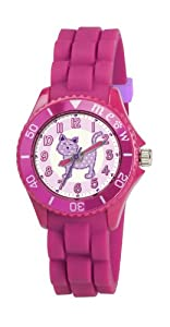 Children's Tikkers Girls Cute Cat Meow Watch Pink Silicone Strap TK0044