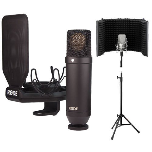 Rode Nt1 Large Diaphragm Condenser Microphone Bundle With Smr Shockmount With Acoustic Reflection Filter And Tripod Mic Stand Kit