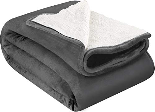 Utopia Bedding Sherpa Flannel Fleece Reversible Blankets (6, Grey)