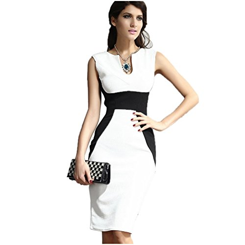 FOREVER YUNG Women Vintage Sleeveless wear to work business Pencil Dress