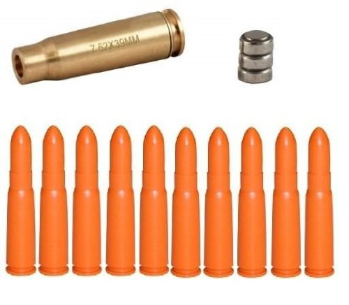 Ultimate Arms Gear Sks Ak47 Ak-47 Rifle 7.62X39Mm Caliber Ammo Cartridge Laser Bore Sighter Boresight Boresighter - Batteries Included + Pack Of 10 Inert 7.62X39Mm Sks Ak-47 Ak Rifle Safety Trainer Cartridge Dummy Ammunition Ammo Rounds - Combo Combinatio