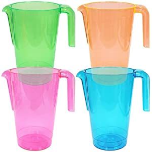 Set of 4 - 48 Oz. Plastic Water Pitcher Beverage Serving Pitchers, Beer Pitcher, Assorted... by ChefLand