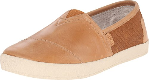 TOMS Men's Avalon Slip-On Light Brown Full Grain Leather/Weave Emboss Sneaker