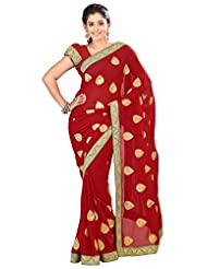 Designer Fabulous Red Colored Embroidered Faux Georgette Saree By Triveni