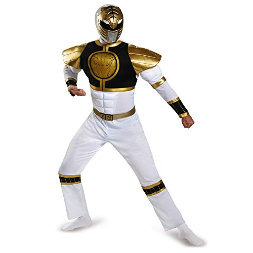 Disguise Power Ranger Adult White Ranger Classic Muscle Costume - XL, XXL
