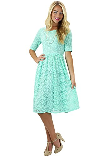 Samantha Modest Lace Dress in Mint - XL
