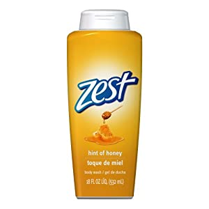 Zest Hint of Honey Body Wash, 18-fluid ounces Bottles (Pack of 3)