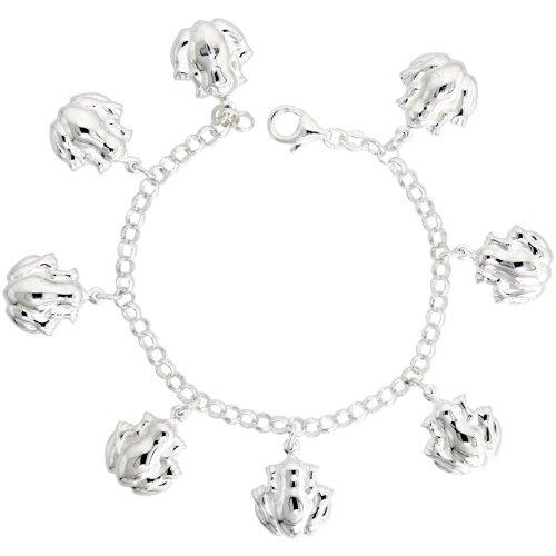 Sterling Silver Frog Pendant Bracelet, 7/8