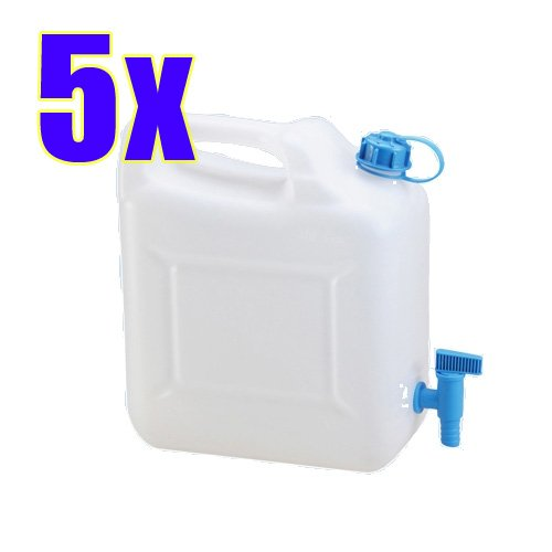 5x-Wasserkanister-ECO-10-Liter-mit-Hahn-5er-Set-Camping-Kanister-Wassertank-NEU