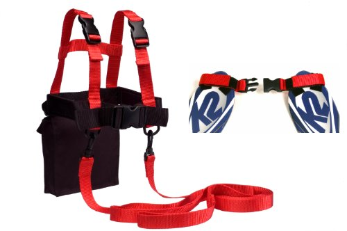 lucky-bums-kids-ski-trainer-kit-harness-learn-to-turn-leashes-and-tip-clip-red-black