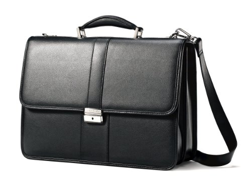 쌤소나이트 Samsonite Leather Flapover Case,Black