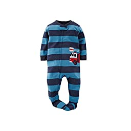 Carters Little Boys Toddler Rescue Firetruck Footed Pajamas - navy/blue, 3t