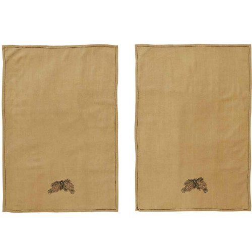 Pine Cone Kitchen Towel Cotton Crepe Set of 2 with Pot Holder (Crepes Paper Holder compare prices)